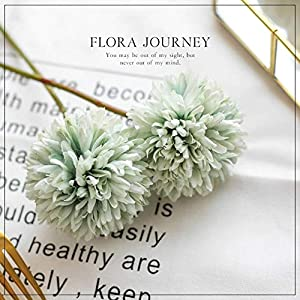 Jasion 10pcs Artificial Chrysanthemum Ball Flowers Bouquet for Present Home Office Coffee House Parties and Wedding Decoration (Light Green) 3