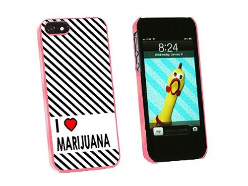Graphics and More I Love Heart Marijuana Snap-On Hard Protective Case for iPhone 5/5s - Non-Retail Packaging - Pink
