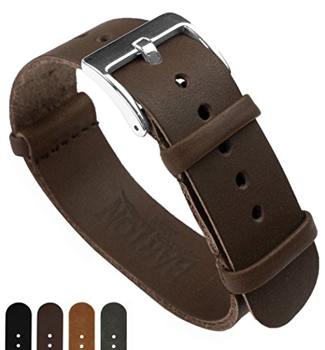 BARTON Leather NATO Style Watch Straps - Choose Color, Length & Width - Saddle Brown 22mm 'Long' Band