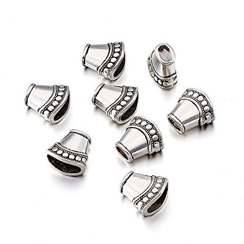 Pandahall 20pcs Tibetan Style Bead Caps Tassel End Cap Lead Free Cadmium Free Antique Silver Jewelry Making 15.5x16x9mm Hole: 4mm (Tibetan Silver Findings)