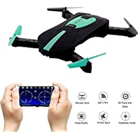 GEEDIAR Drone Quadcopter, Pocket Mini RC Drone with WIFI FPV HD Camera, Support APP Control, Altitude Hold, Headless Mode, 3D Flips and Rolls, 2.4 GHz 4CH 6-Axis Gyro Foldable Helicopter Drone (Green)