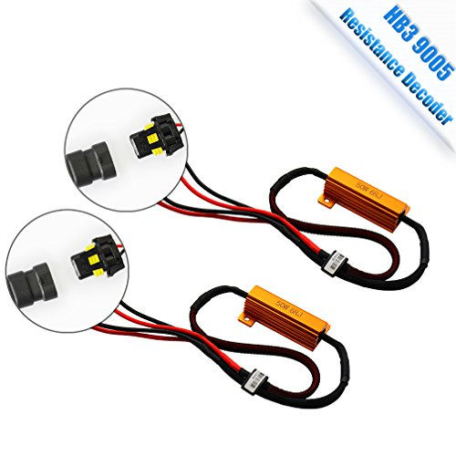 3 LED Headlight bulb 6 Ohm Resistance decoder, CANBUS EMC Warning Error Free Decoder Canceller Capacitor Anti flicker Resistor harness for LED Headlight HB3 HB4 9006 9012 Systems (Led Capacitor)
