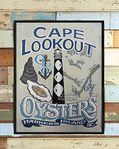 Cape Lookout Oysters NC Crystal Coast seafood print Restaurant or bar decor beach house decor oyster art and lighthouse collectors