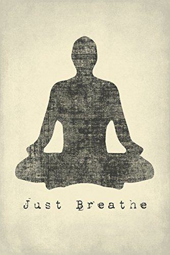 Just Breathe, mindfulness meditation poster print