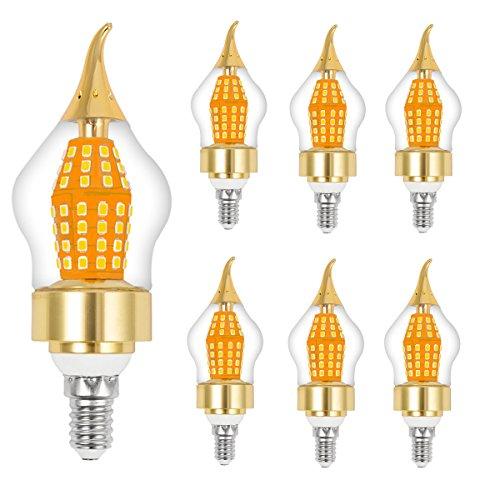 cjc 15-Watt LED Candelabra Bulb, Base E12, Warm White 3000K, LED Candle Bulbs, 120 Watt Light Bulbs Equivalent Incandescent,Non-dimmable,Super Bright 1650 Lumens LED Lights, Chandelier - 6 Pack]()