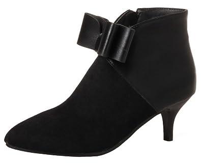 Women's Dressy Bowknot Side Zipper Short Boots Color Block Splicing Pointed Toe Kitten Heel Ankle Booties