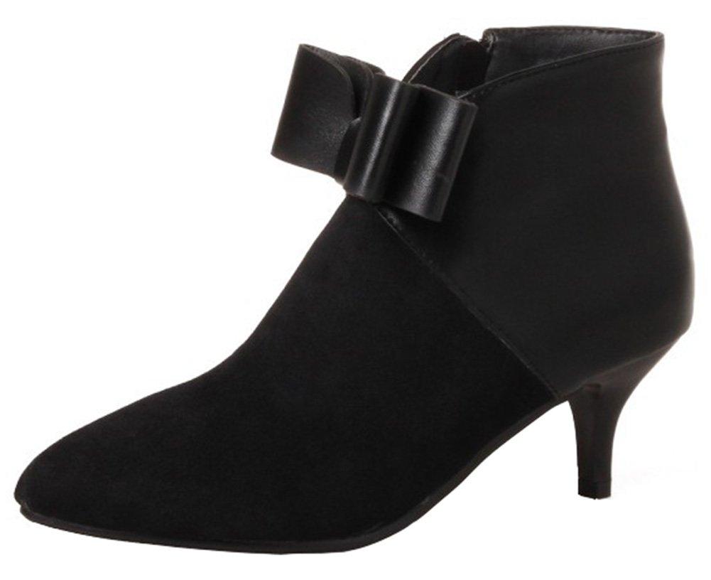 Mofri Women's Dressy Bowknot Side Zipper Short Boots Color Block Splicing Pointed Toe Kitten Heel Ankle Booties (Black, 12 B(M) US)