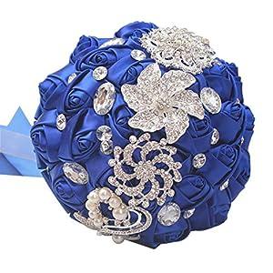 cn-Knight Wedding Bouquet Bridal Bouquet Handmade Silk Satin Rose Artificial Flower with Sparkling Rhinestone Brooch Crystals Pearl Soft Ribbon for Bride Bridesmaid Church(10''W×11''H,Sapphire Blue) 50