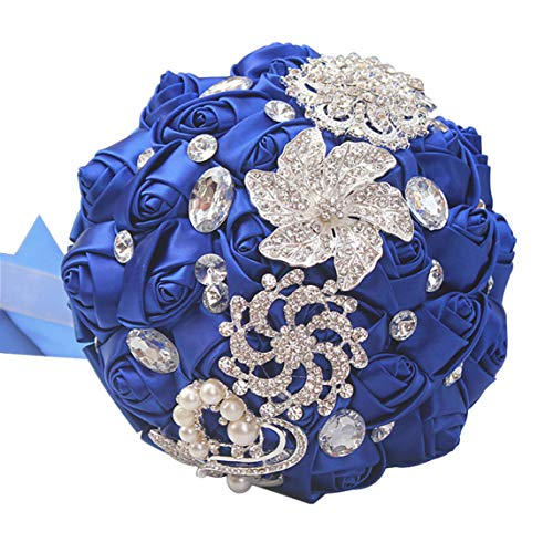 Art Deco Flower Brooch - cn-Knight Wedding Bouquet Bridal Bouquet Handmade Silk Satin Rose Artificial Flower with Sparkling Rhinestone Brooch Crystals Pearl Soft Ribbon for Bride Bridesmaid Church(10''W×11''H,Sapphire Blue)