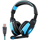 Gaming Headset, AFUNTA 7.1 Channel Surround Sound Headband Over-Ear Headphones With Microphone Noise Cancelling Volume Control LED Lighting For PC Computer Gaming, USB Connection-Blue