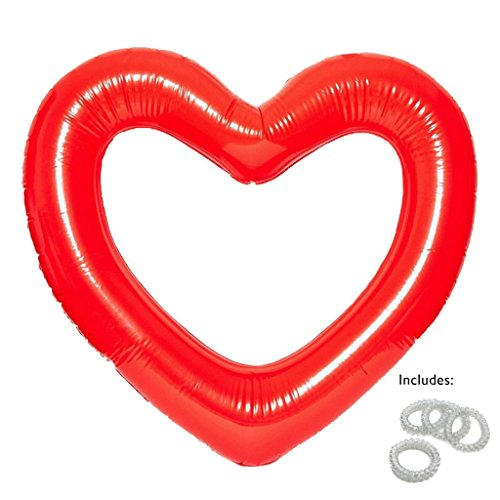 Loteli Heart Pool Float: Large Red Emoji Floats for Adults, Pool Party, Bachelorette