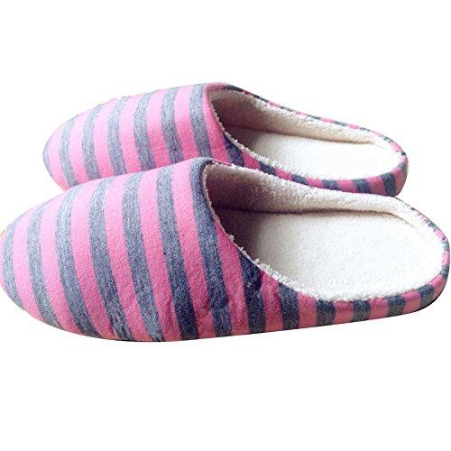 Rose Intérieure Chaud Derapant Mules Douce Peluche ChenRui Chaussons Anti Femmes Chaussures Slippers Hommes Semelle Pantoufles XIIq6Pz