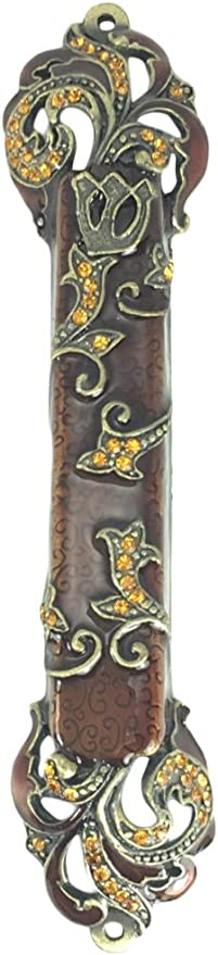 Welforth Beautiful Bejeweled Brown with Gold Finish Pewter Jewish Judaica Mezuzah