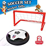 Kids Air Power Soccer Goal Set with 2 Goals LED Light Up Toy Hover Ball Sport Training Football for Home Outdoor Beach Summer Travel Game Boys Girls Toddlers Adults Air Power Ball Toys Education Learn