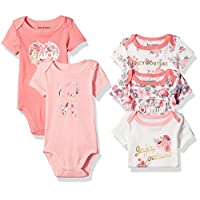 Juicy Couture Baby Girls' 5 Pack Bodysuit, Peach/Vanilla, 0-3 Months