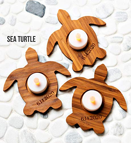 Candle Holders Bamboo Floats for Bath Pool   Holds Tea Light Size Candles   Sea Turtle Leaf Duck Heart Custom   ()