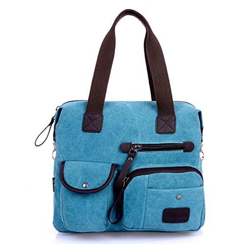 Blue Men Canvas Unisex Tiny Tote Women Duffel Chou Leisure Crossbody Sports Vintage Handbag Zipper Bag YBYw65x