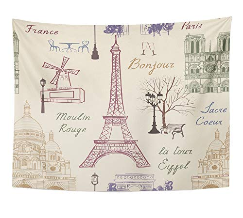 Emvency Tapestry Artwork Wall Hanging Love Travel Paris Vacation in Europe to Visit Famous Places of France Landmark Cafe 60x80 Inches Tapestries Mattress Tablecloth Curtain Home Decor Print -