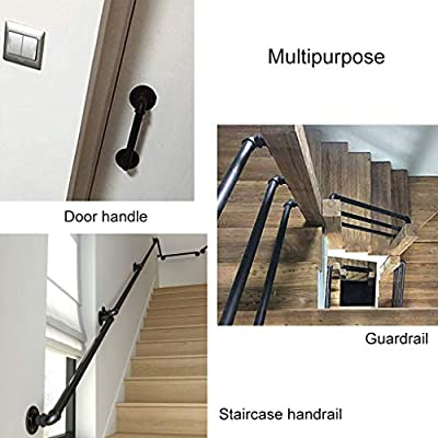 Barandillas para escaleras, tubo negro Escalera Seguridad de barandilla Soporte de barandilla para pasamanos Barandilla - Montaje en pared para discapacitados, manija de baño, ancianos, lesiones: Amazon.es: Hogar