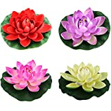 4PCS Set Artificial EVA Lotus Floating Water Lily Blooming Foam Flower Head Pool Fish Tank Pond Home Garden Decoration (10CM)