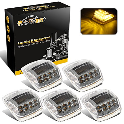 - Partsam 5pcs 17 LED Clear Lens Amber Cab Marker Top Roof Running Truck Cab Light Waterproof Top Reflective Lights Compatible with Peterbilt/Kenworth/Freightliner/Mack/Volvo