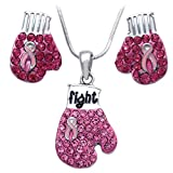 cocojewelry Pink Ribbon Breast Cancer Awareness Boxing Glove Necklace Earrings Set (Pink Glove Stud Set)