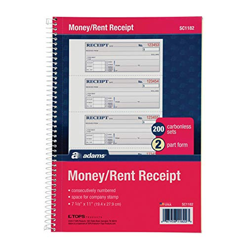 "Adams Money and Rent Receipt Book, 2-Part Carbonless, 7-5/8"" x 11"", Spiral Bound, 200 Sets per Book, 4 Receipts per Page (SC1182)"
