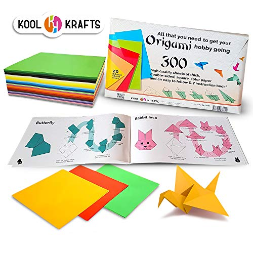 Kool Krafts Origami Paper Kit 300 Sheets, with 25 Easy Origami Projects Colored Book - Premium Quality for Arts and Crafts, 6 x 6 inch Square Sheets, 20 Vibrant Colors, Same Color on Both Sides.