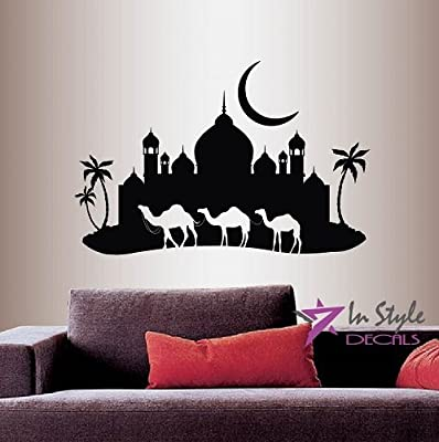 Wall Vinyl Decal Home Decor Art Sticker Arabian Night Camel Caravan Mosque Palace Palm Trees Skyline Moon Travel Bedroom living Room Removable Stylish Mural Unique Design