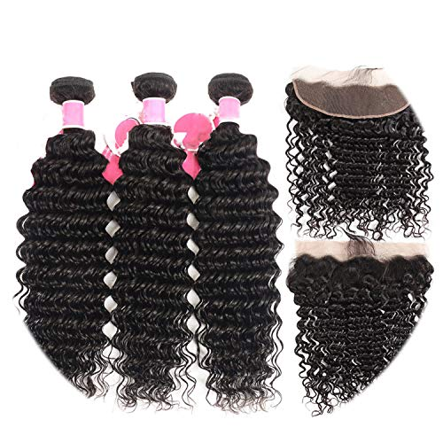 3 Bundles Brazilian Deep Wave 100% Human Hair Bundles With Frontal Natural Black Remy Hair Extension,22 24 26 28 & closure18