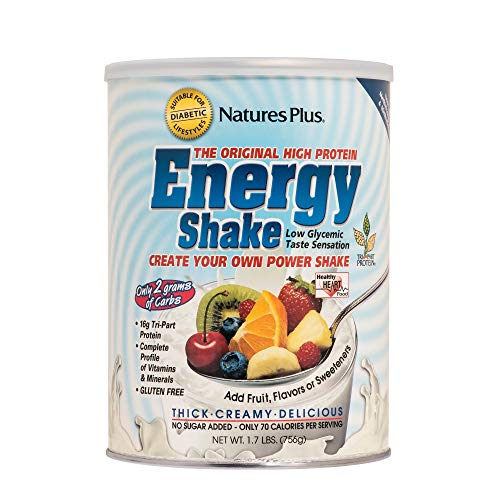 (Natures Plus Energy The Universal Protein Shake - 1.7 lbs - Plant Based Meal Replacement, Vitamins, Minerals for Energy - Flavor Neutral - Vegetarian, Gluten Free - 28 Servings)