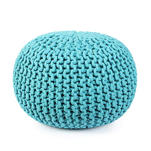 Hand Knitted Cable Style Dori Pouf - Blue - Floor Ottoman - 100% Cotton Braid Cord - Handmade & Hand Stitched - Truly one of a Kind Seating - 20 Dia x 14 High