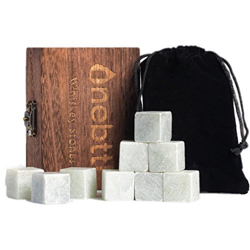 Whiskey Stones - Scotch Rocks, Reusable Chilling Rocks for Drinks - Keeps your Drink Cold, No Water Dilution, Premium Bar Accessories with Velvet Pouch and Wooden Gift Box - 9 Cyan Soap Stones