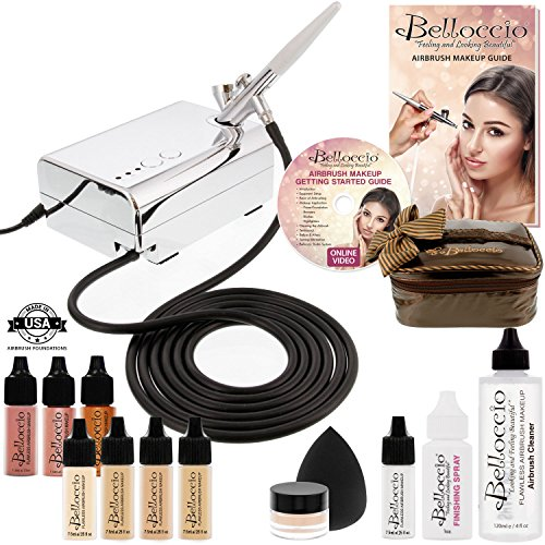Belloccio Professional Beauty Airbrush Cosmetic Makeup System with 4 Fair Shades of Foundation in 1/4 Ounce Bottles – Kit Includes Blush, Bronzer and Highlighter and 3 Bonus Items and a DVD