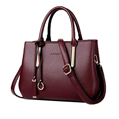 De Marca,bolso Mujer negro Red Simple rojo Gran Piel Capacidad Bolsos Wine Vaca Mujer,bolsos Rosa Piel,bolsos IwBqWv651