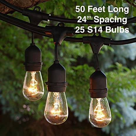 Outdoor Patio String Lights   Heavy Duty Hanging Patio Lights   50 Feet  With 25 Hanging