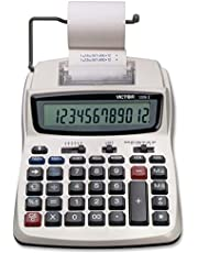 $28 » Victor Printing Calculator, 1208-2 Compact and Reliable Adding Machine with 12 Digit LCD Display, Battery or AC Powered, Includes Adapter