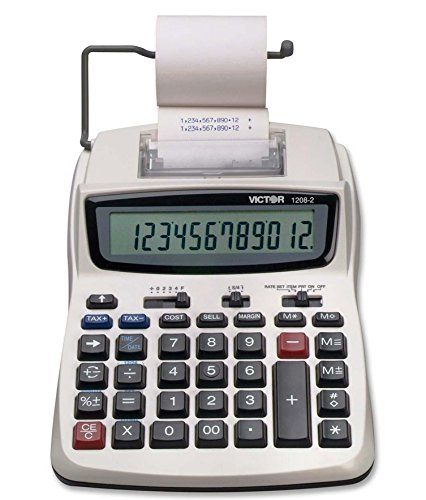Victor Printing Calculator, 1208-2 Compact and Reliable Adding Machine with 12 Digit LCD Display, Battery or AC Powered, Includes ()