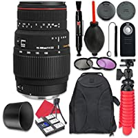 Sigma 70-300mm f/4-5.6 APO DG Macro Lens for Canon + Accessory Bundle