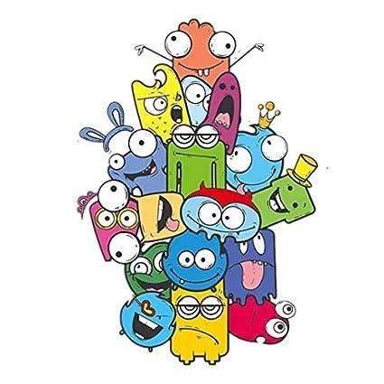 PANGUN Coloré Cartoon Wall Sticker Couleur Crayon Monstre Stickers Muraux pour Chambre D Enfant