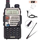 BaoFeng UV-5RE+ 8Watt Ham Radio Handheld Rechargeable with Gamtaai NA-771 Telescopic Antenna+Acoustic Tube...