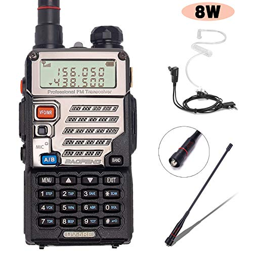 BaoFeng UV-5RE 8Watt Ham Radio Handheld Rechargeable with Gamtaai NA-771 Telescopic Antenna Acoustic Tube Earpiece 2800mAh Large Battery,VHF UHF Two Way Radio Long Range Walkie Talkies Black