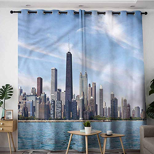 XXANS Waterproof Window Curtains,USA,Chicago Cityscape Summer Sky,Curtains for Living Room,W84x96L -