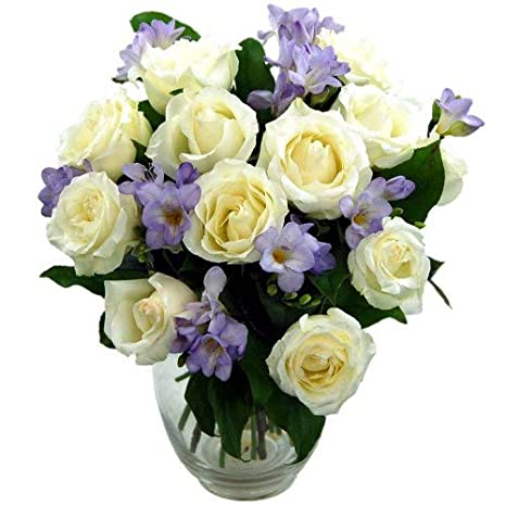 Clare Florist Breathtaking Amethyst Bouquet Rose And Freesia Fresh Flowers Perfect For Birthdays Anniversaries