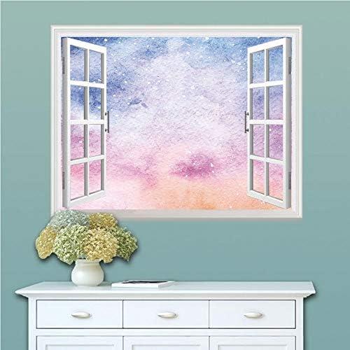 海軍と赤面簡単壁紙シール 3dウォールステッカー 多用途なシール DIYシール リフォーム 壁紙 窓画 壁紙3d 剥がせる壁紙 ウォールステッカー和風 80x60 抽象的な水彩画芸術的なファンタジーソフト星雲宇宙風の装飾