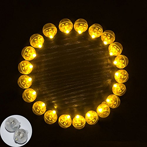 Neo LOONS 100pcs/lot 100 X Yellow Round Led Flash Ball Lamp Balloon Light long standby time for Paper Lantern Balloon Light Party Wedding Decoration