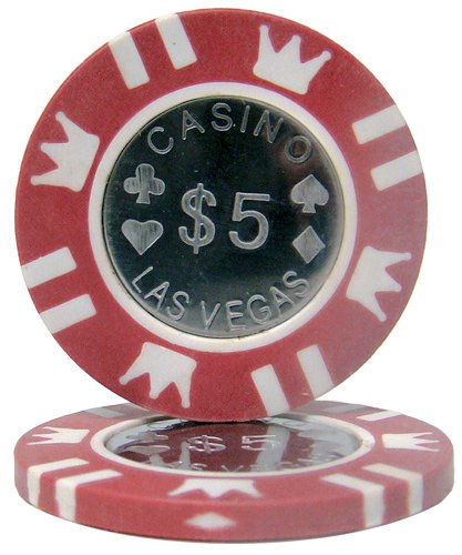 Brybelly Coin Inlay Poker Chip 15-gram Heavyweight Clay Composite - Pack of 50 ($5 Red)