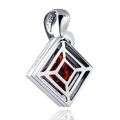 Gani Mariano Grenat Pendentif Rouge avec Oxyde de Zirconium-925Argent-Pendentif Femme-Argent avec collier # Ark