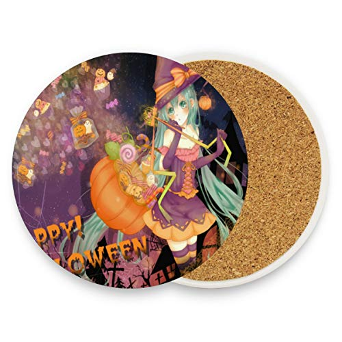 (Coasters for Drinks,Unique Anime Halloween Wallpaper Ceramic Round Cork Trivet Heat Resistant Hot Pads Table Cup Mat Coaster-Set of 2)