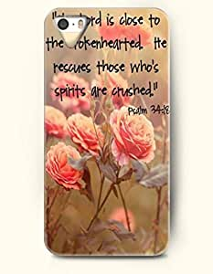 iPhone 5 5S Case OOFIT Phone Hard Case ** NEW ** Case with Design The Lord Is Close To The Brokenhearted He Rescues Those Who'S Spirits Are Crushed Psalm 34:18- Bible Verses - Case for Apple iPhone 5/5s